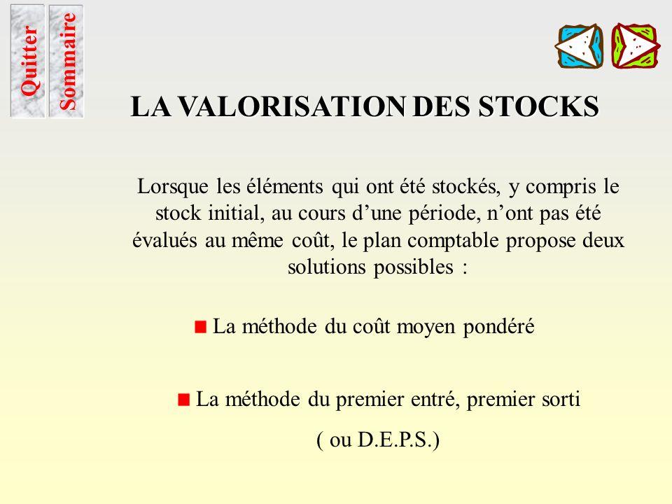 Deps utilisation et application Sommaire Chapitre LA VALORISATION DES STOCKS 3. La méthode du Dernier Entré, Premier Sorti 2.1 utilisation Cette métho