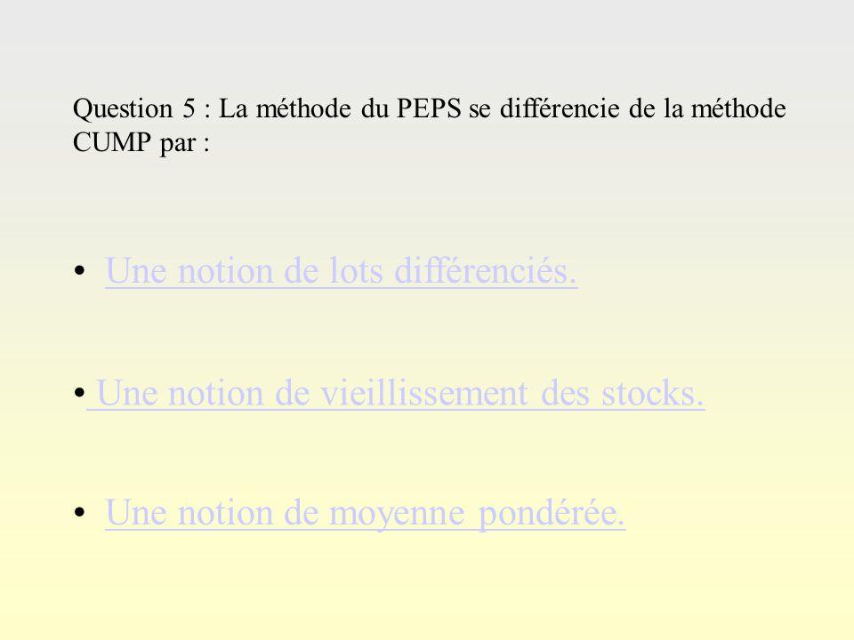 Questi on 4 Question 4 : La méthode du CUMP permet de pondérer la valeur du stock en fonction… des entrés par rapport aux sorties. des entrées par rap