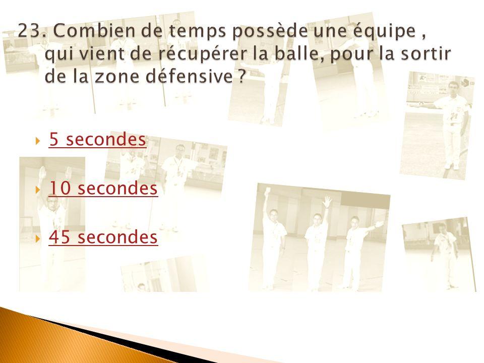 Par ici la suite Art.18.1: Quand une équipe a commencé une action dattaque, elle peut retourner avec la balle ou la renvoyer dans sa zone de défense, mais elle na que 5 secondes pour la reconduire de nouveau dans sa zone dattaque.