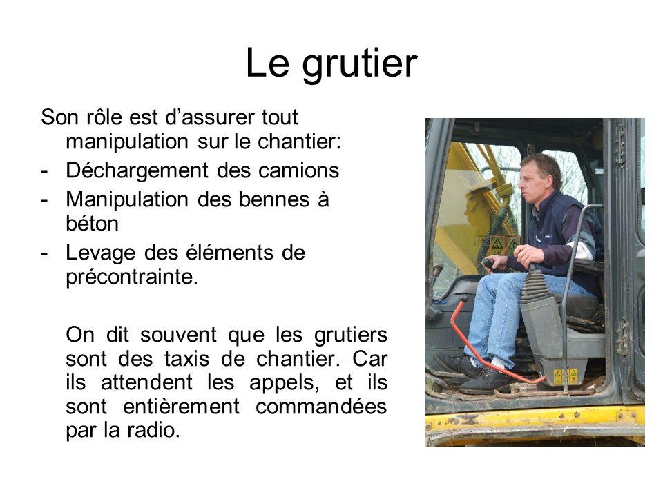 Le grutier Son rôle est dassurer tout manipulation sur le chantier: -Déchargement des camions -Manipulation des bennes à béton -Levage des éléments de
