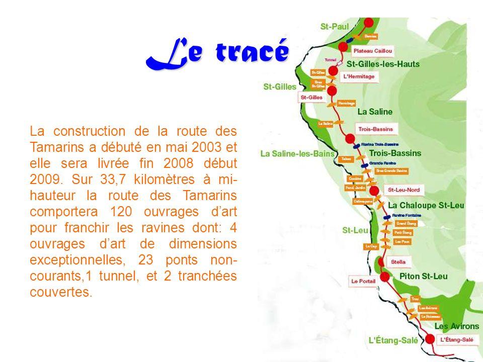 Le tracé La construction de la route des Tamarins a débuté en mai 2003 et elle sera livrée fin 2008 début 2009. Sur 33,7 kilomètres à mi- hauteur la r