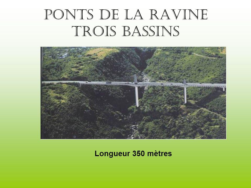 Ponts de la ravine trois bassins Longueur 350 mètres