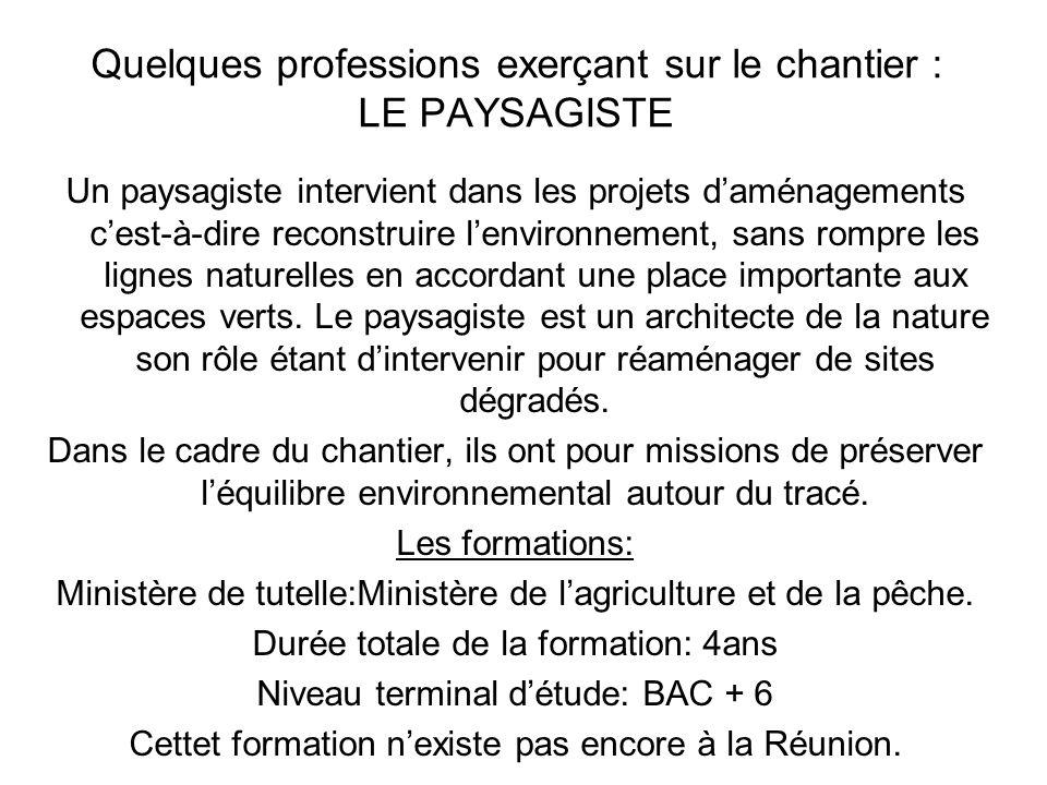 Quelques professions exerçant sur le chantier : LE PAYSAGISTE Un paysagiste intervient dans les projets daménagements cest-à-dire reconstruire lenviro