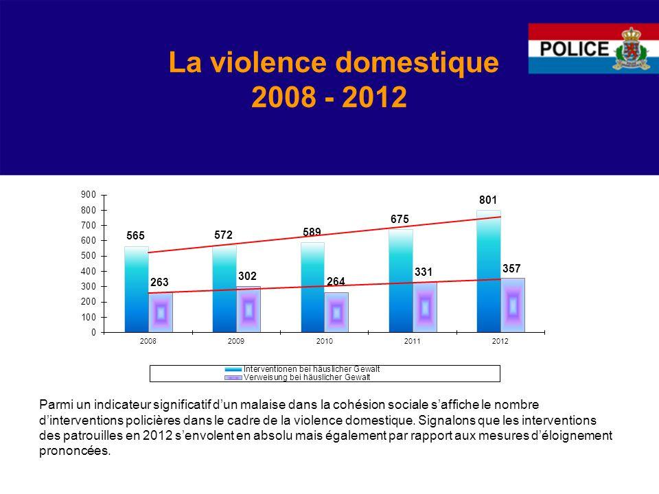 La violence domestique 2008 - 2012 Parmi un indicateur significatif dun malaise dans la cohésion sociale saffiche le nombre dinterventions policières dans le cadre de la violence domestique.