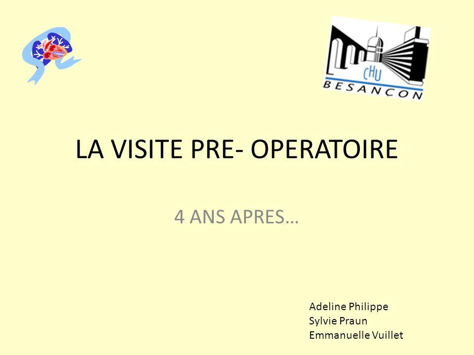 LA VISITE PRE- OPERATOIRE 4 ANS APRES… Adeline Philippe Sylvie Praun Emmanuelle Vuillet