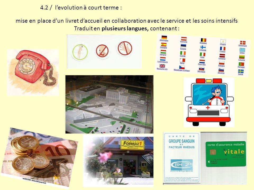 4.2 / levolution à court terme : mise en place dun livret daccueil en collaboration avec le service et les soins intensifs Traduit en plusieurs langue