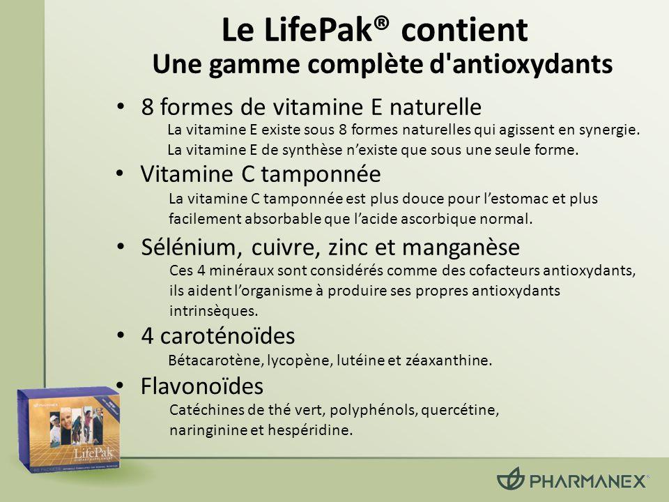 Le LifePak® contient Flavonoïdes Une gamme complète d'antioxydants La vitamine E existe sous 8 formes naturelles qui agissent en synergie. La vitamine