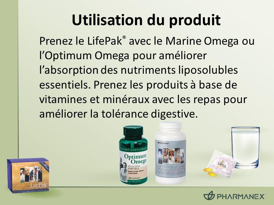 Utilisation du produit Prenez le LifePak ® avec le Marine Omega ou lOptimum Omega pour améliorer labsorption des nutriments liposolubles essentiels. P
