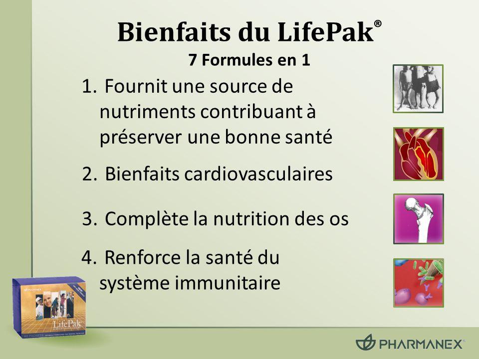 6.Protège votre corps des symptômes du vieillissement 5.Équilibre le métabolisme des glucides dans le sang 7.Renforce le système de protection antioxydant (suite) Bienfaits du LifePak ® 7 Formules en 1