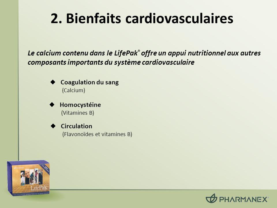 2. Bienfaits cardiovasculaires Homocystéine (Vitamines B) Coagulation du sang (Calcium) Le calcium contenu dans le LifePak ® offre un appui nutritionn