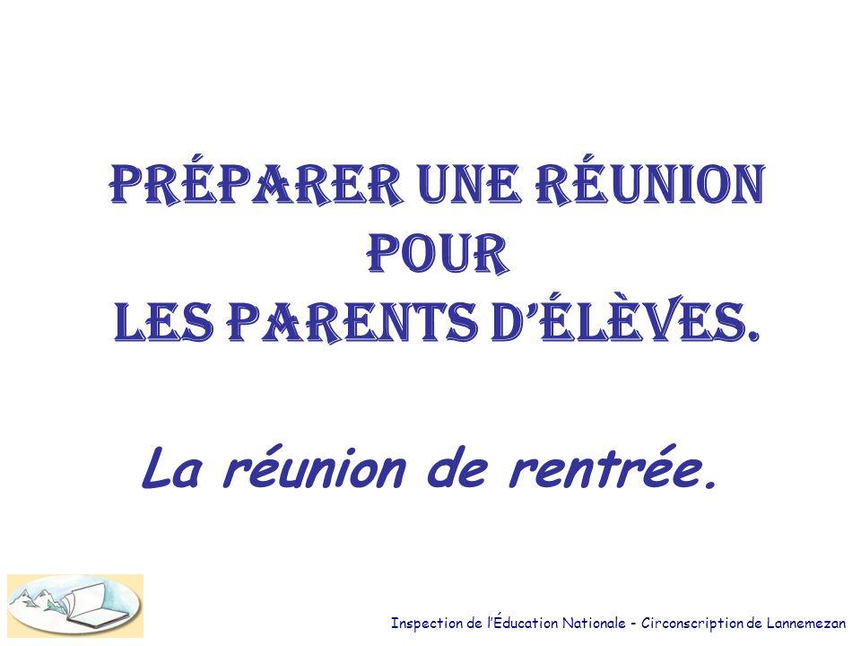 Préparer une réunion pour les parents délèves.La réunion de rentrée.
