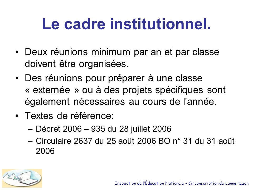 Le cadre institutionnel.Deux réunions minimum par an et par classe doivent être organisées.