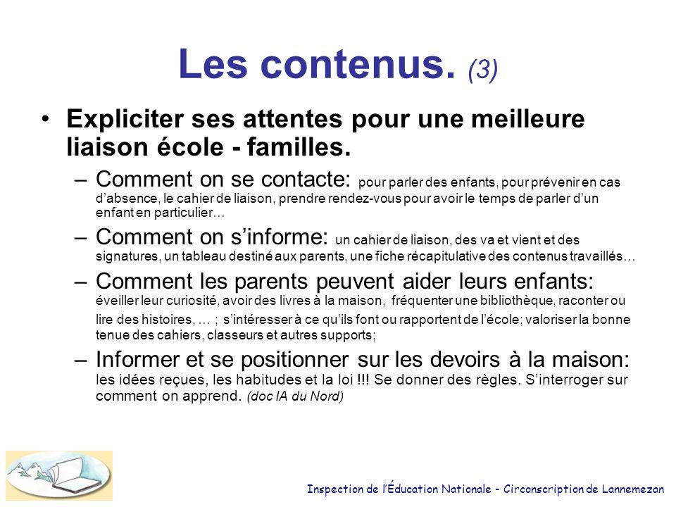 Les contenus.(3) Expliciter ses attentes pour une meilleure liaison école - familles.