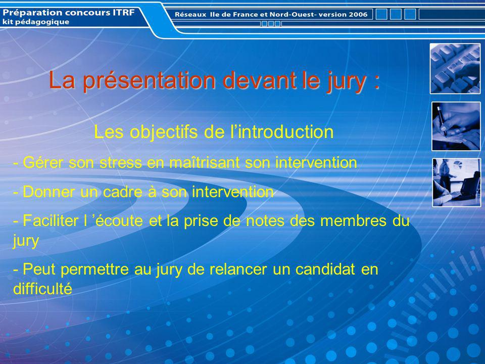 La présentation devant le jury : Les objectifs de lintroduction - Gérer son stress en maîtrisant son intervention - Donner un cadre à son intervention - Faciliter l écoute et la prise de notes des membres du jury - Peut permettre au jury de relancer un candidat en difficulté