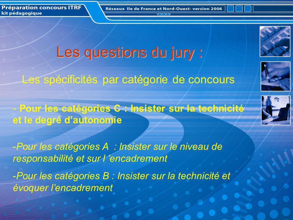 Les questions du jury : Les spécificités par catégorie de concours - Pour les catégories C : Insister sur la technicité et le degré dautonomie -Pour les catégories A : Insister sur le niveau de responsabilité et sur l encadrement -Pour les catégories B : Insister sur la technicité et évoquer lencadrement