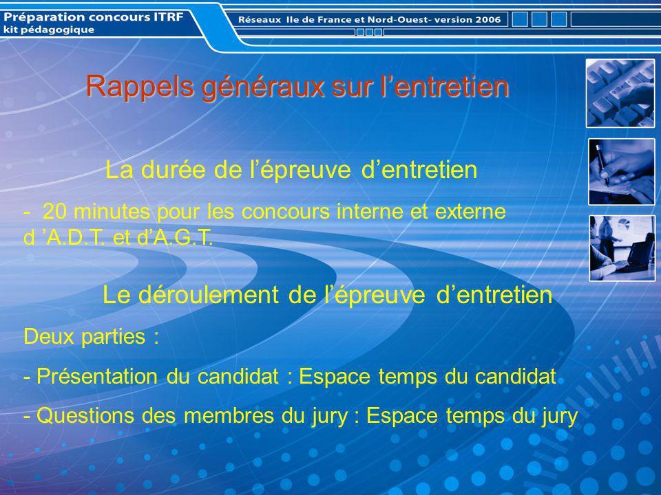Rappels généraux sur lentretien La durée de lépreuve dentretien - 20 minutes pour les concours interne et externe d A.D.T.