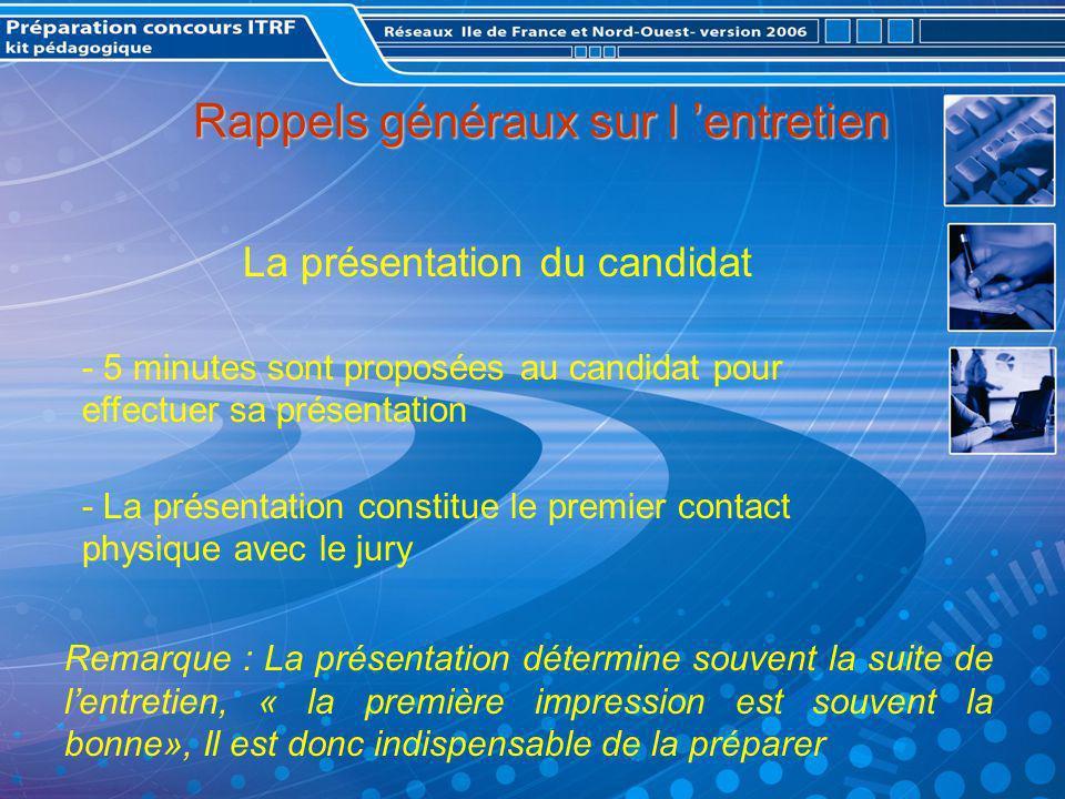 La présentation devant le jury Comment favoriser la communication .