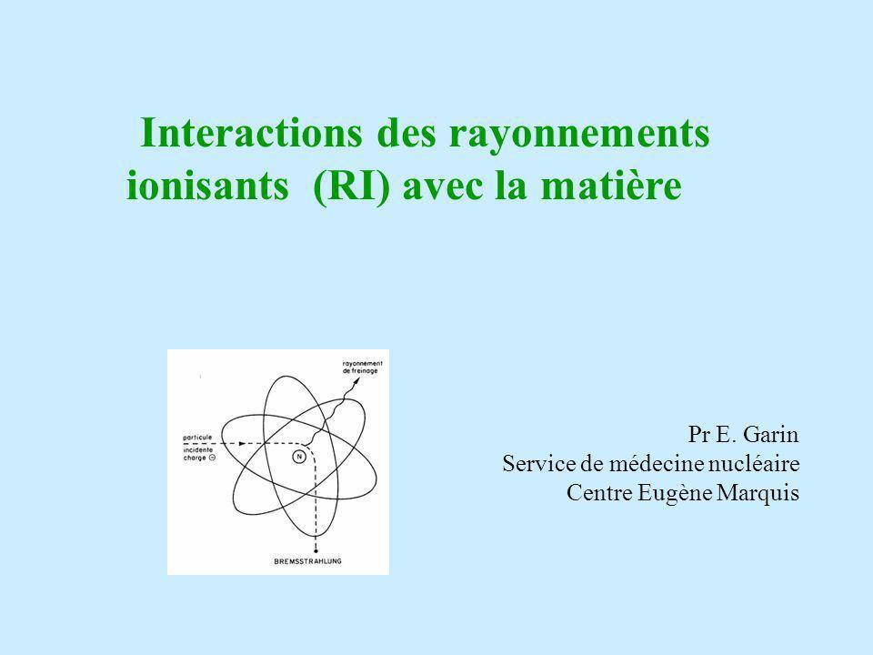 3- Les interactions peuvent avoir lieu soit avec les électrons soit avec les noyaux : - Interactions particules-électrons = collisions: elles entraînent un transfert dénergie à la matière responsable des effets produits sur le milieu - Interactions particules-noyaux = freinage: elles sont responsables de la production de rayons X de freinage qui peuvent soit être diffusés soit interagire à leur tour avec la matière