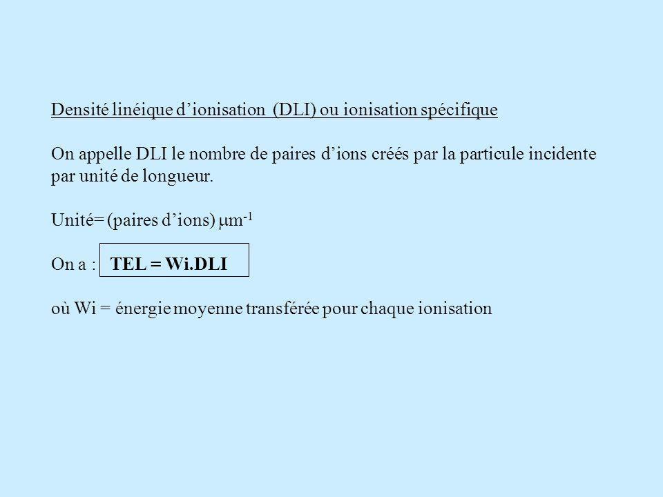 Densité linéique dionisation (DLI) ou ionisation spécifique On appelle DLI le nombre de paires dions créés par la particule incidente par unité de longueur.