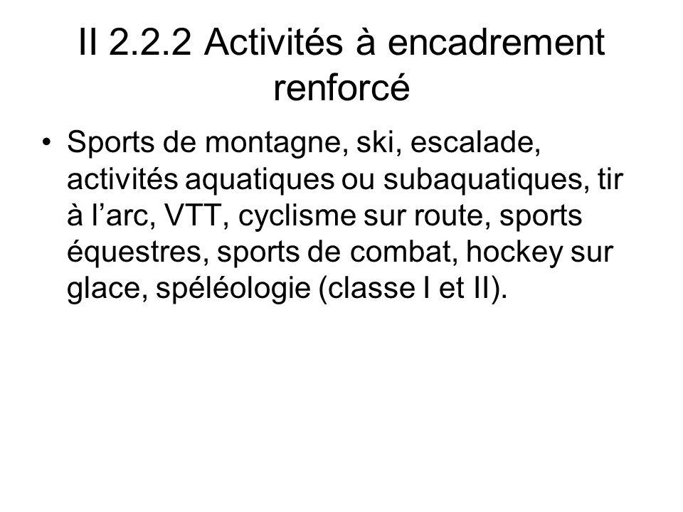 II 2.2.2 Activités à encadrement renforcé Sports de montagne, ski, escalade, activités aquatiques ou subaquatiques, tir à larc, VTT, cyclisme sur route, sports équestres, sports de combat, hockey sur glace, spéléologie (classe I et II).