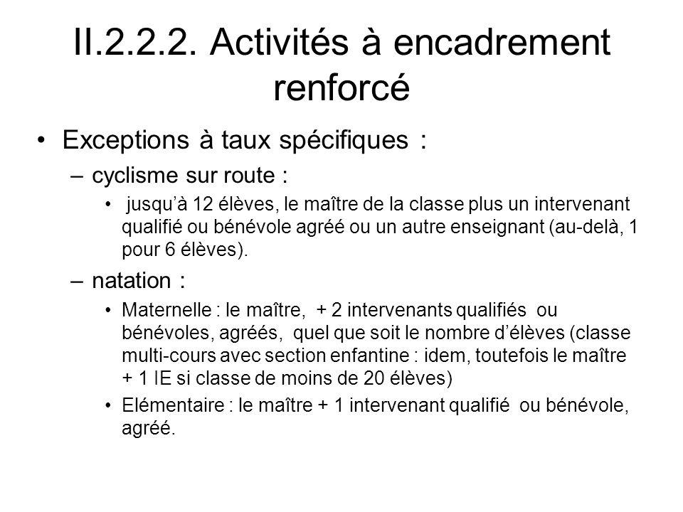 II.2.2.2. Activités à encadrement renforcé Exceptions à taux spécifiques : –cyclisme sur route : jusquà 12 élèves, le maître de la classe plus un inte