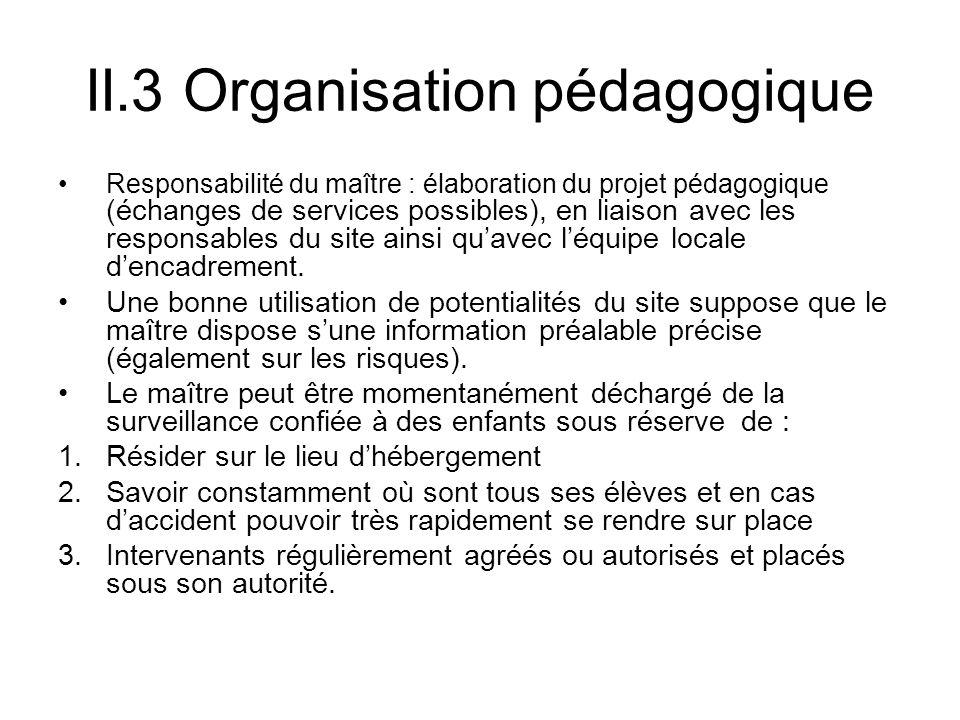 II.3 Organisation pédagogique Responsabilité du maître : élaboration du projet pédagogique (échanges de services possibles), en liaison avec les responsables du site ainsi quavec léquipe locale dencadrement.