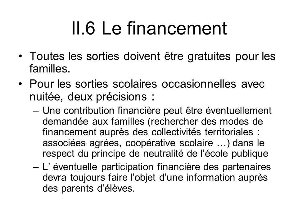 II.6 Le financement Toutes les sorties doivent être gratuites pour les familles. Pour les sorties scolaires occasionnelles avec nuitée, deux précision