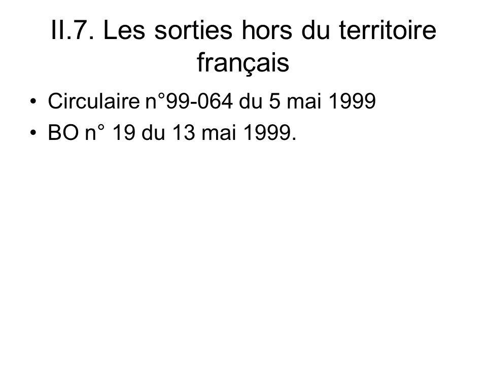II.7. Les sorties hors du territoire français Circulaire n°99-064 du 5 mai 1999 BO n° 19 du 13 mai 1999.