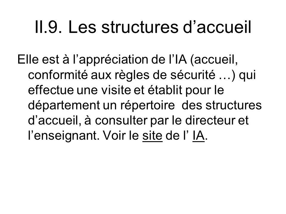 II.9. Les structures daccueil Elle est à lappréciation de lIA (accueil, conformité aux règles de sécurité …) qui effectue une visite et établit pour l