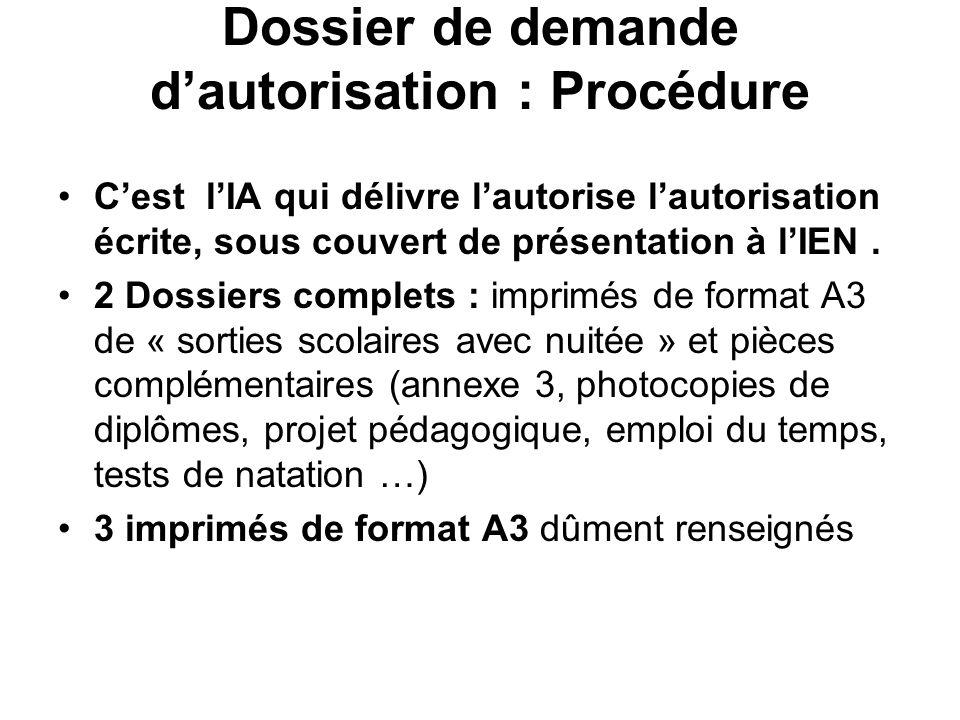 Dossier de demande dautorisation : Procédure Cest lIA qui délivre lautorise lautorisation écrite, sous couvert de présentation à lIEN. 2 Dossiers comp