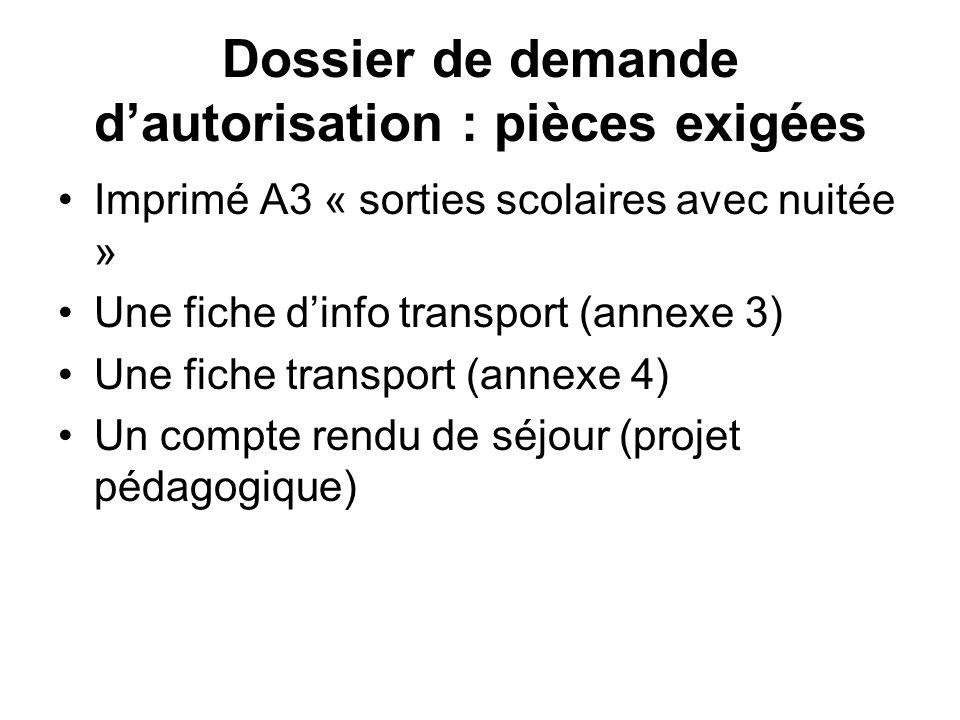 Dossier de demande dautorisation : pièces exigées Imprimé A3 « sorties scolaires avec nuitée » Une fiche dinfo transport (annexe 3) Une fiche transport (annexe 4) Un compte rendu de séjour (projet pédagogique)