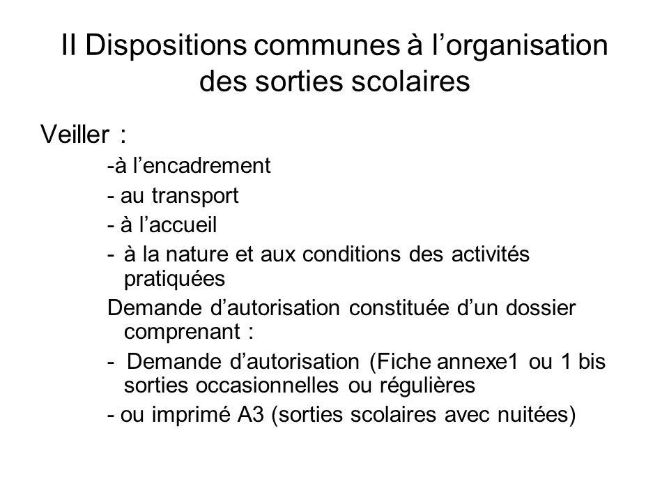 II Dispositions communes à lorganisation des sorties scolaires Veiller : -à lencadrement - au transport - à laccueil -à la nature et aux conditions de