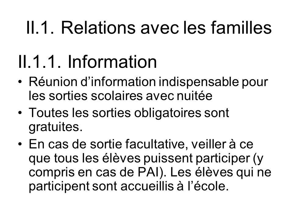 II.1. Relations avec les familles II.1.1. Information Réunion dinformation indispensable pour les sorties scolaires avec nuitée Toutes les sorties obl