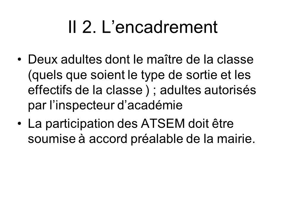 II 2. Lencadrement Deux adultes dont le maître de la classe (quels que soient le type de sortie et les effectifs de la classe ) ; adultes autorisés pa