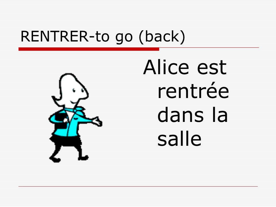 RENTRER-to go (back) Alice est rentrée dans la salle