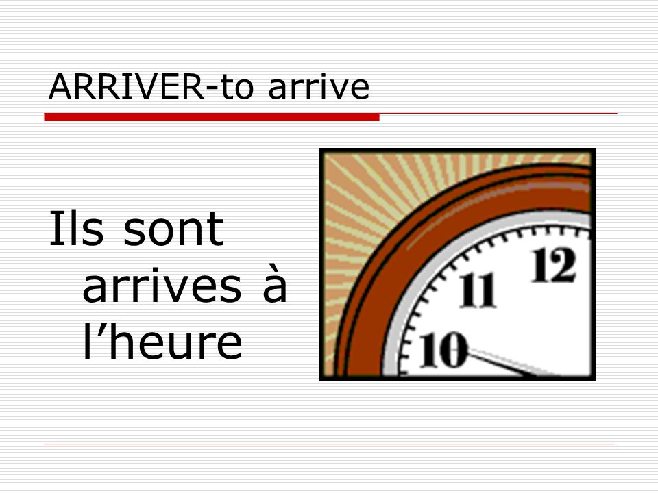 ARRIVER-to arrive Ils sont arrives à lheure