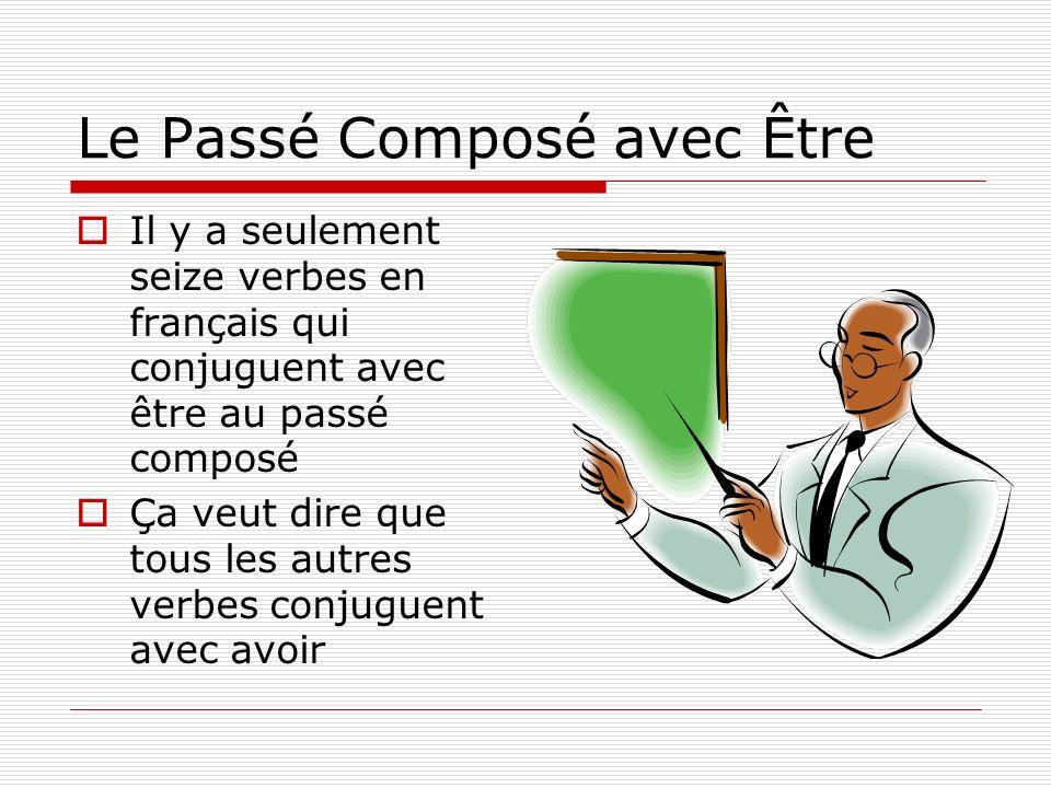 Il y a seulement seize verbes en français qui conjuguent avec être au passé composé Ça veut dire que tous les autres verbes conjuguent avec avoir
