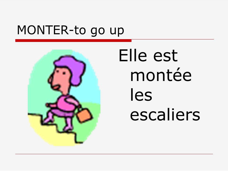MONTER-to go up Elle est montée les escaliers