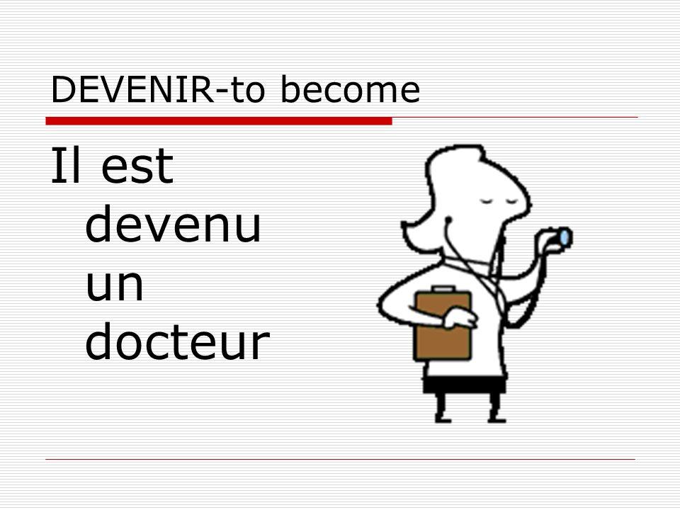 DEVENIR-to become Il est devenu un docteur