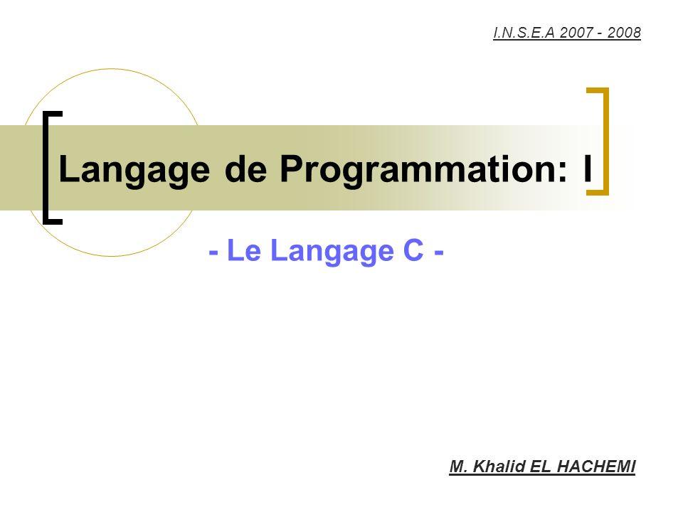 Langage de Programmation: I - Le Langage C - M. Khalid EL HACHEMI I.N.S.E.A 2007 - 2008
