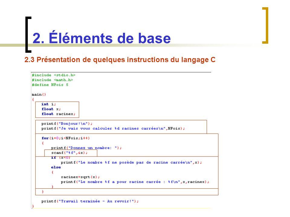 2.3 Présentation de quelques instructions du langage C 2. Éléments de base
