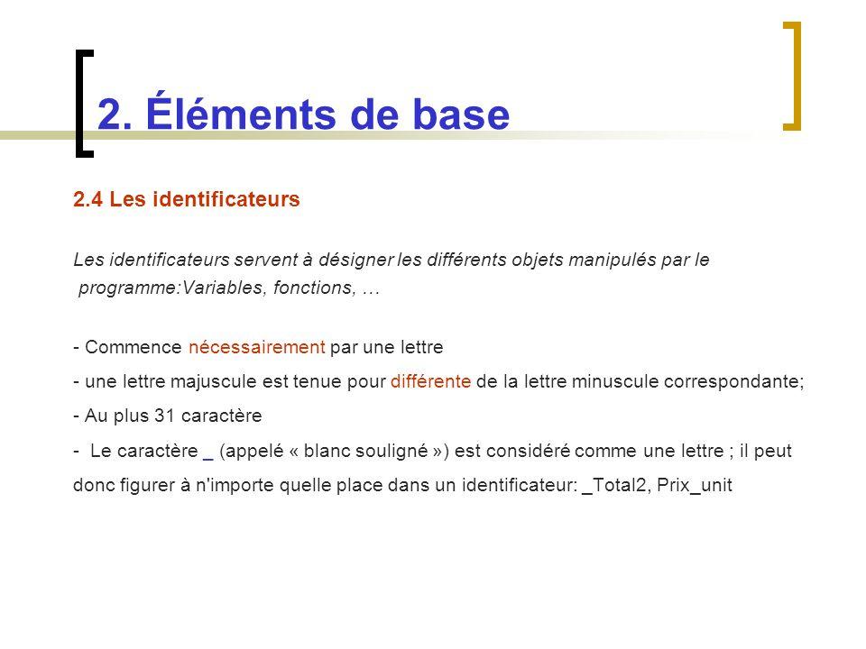2.4 Les identificateurs Les identificateurs servent à désigner les différents objets manipulés par le programme:Variables, fonctions, … - Commence néc