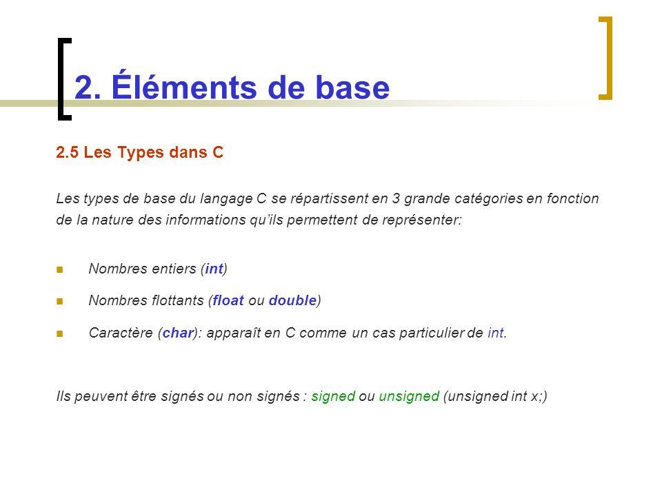 2.5 Les Types dans C Les types de base du langage C se répartissent en 3 grande catégories en fonction de la nature des informations quils permettent