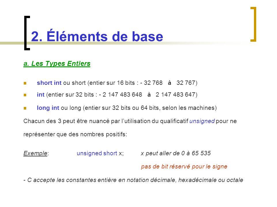 a. Les Types Entiers short int ou short (entier sur 16 bits : - 32 768 à 32 767) int (entier sur 32 bits : - 2 147 483 648 à 2 147 483 647) long int o