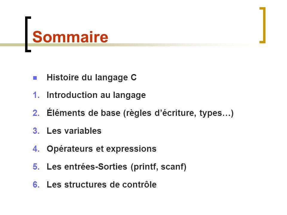 Sommaire Histoire du langage C 1.Introduction au langage 2.Éléments de base (règles décriture, types…) 3.Les variables 4.Opérateurs et expressions 5.L