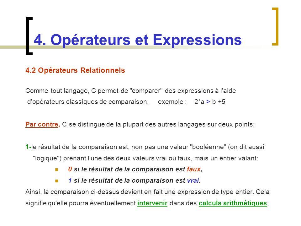 4.2 Opérateurs Relationnels Comme tout langage, C permet de