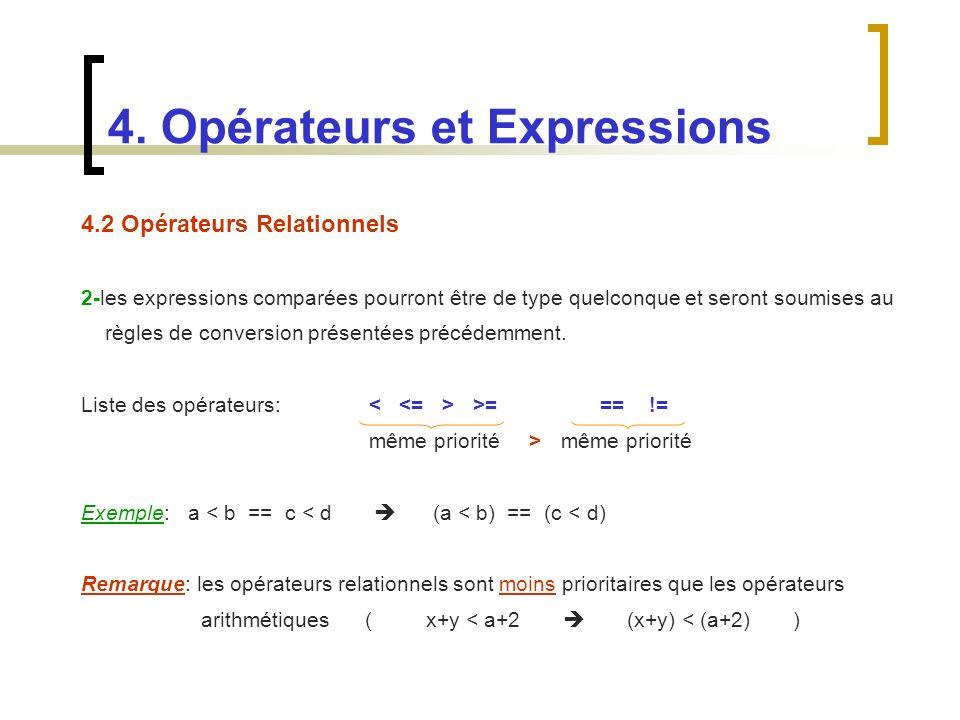 4.2 Opérateurs Relationnels 2-les expressions comparées pourront être de type quelconque et seront soumises au règles de conversion présentées précéde
