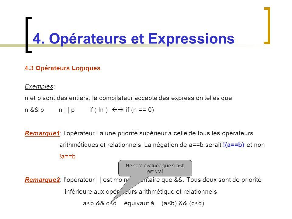 4.3 Opérateurs Logiques Exemples: n et p sont des entiers, le compilateur accepte des expression telles que: n && p n | | p if ( !n ) if (n == 0) Rema