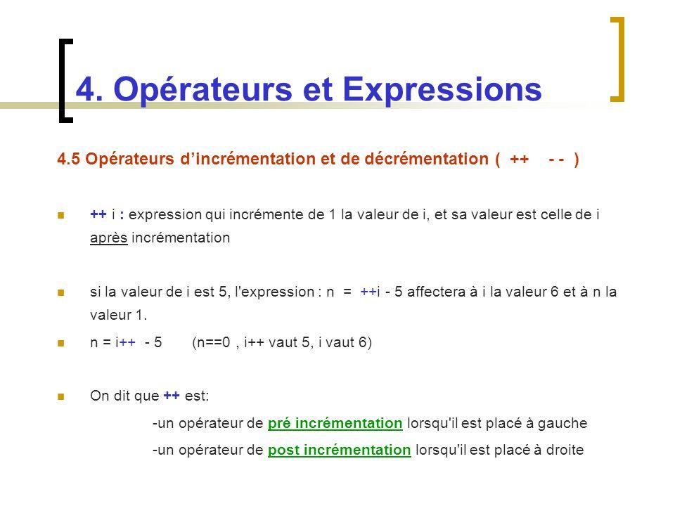 4.5 Opérateurs dincrémentation et de décrémentation ( ++ - - ) ++ i : expression qui incrémente de 1 la valeur de i, et sa valeur est celle de i après