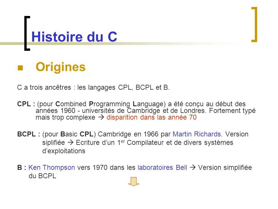 Histoire du C Origines C a trois ancêtres : les langages CPL, BCPL et B. CPL : (pour Combined Programming Language) a été conçu au début des années 19